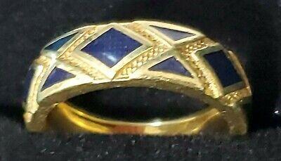Exquisite VTG Hidalgo Designer 18k Navy Blue Chevron Enamel Ring RARE 6.5 ~ 8g