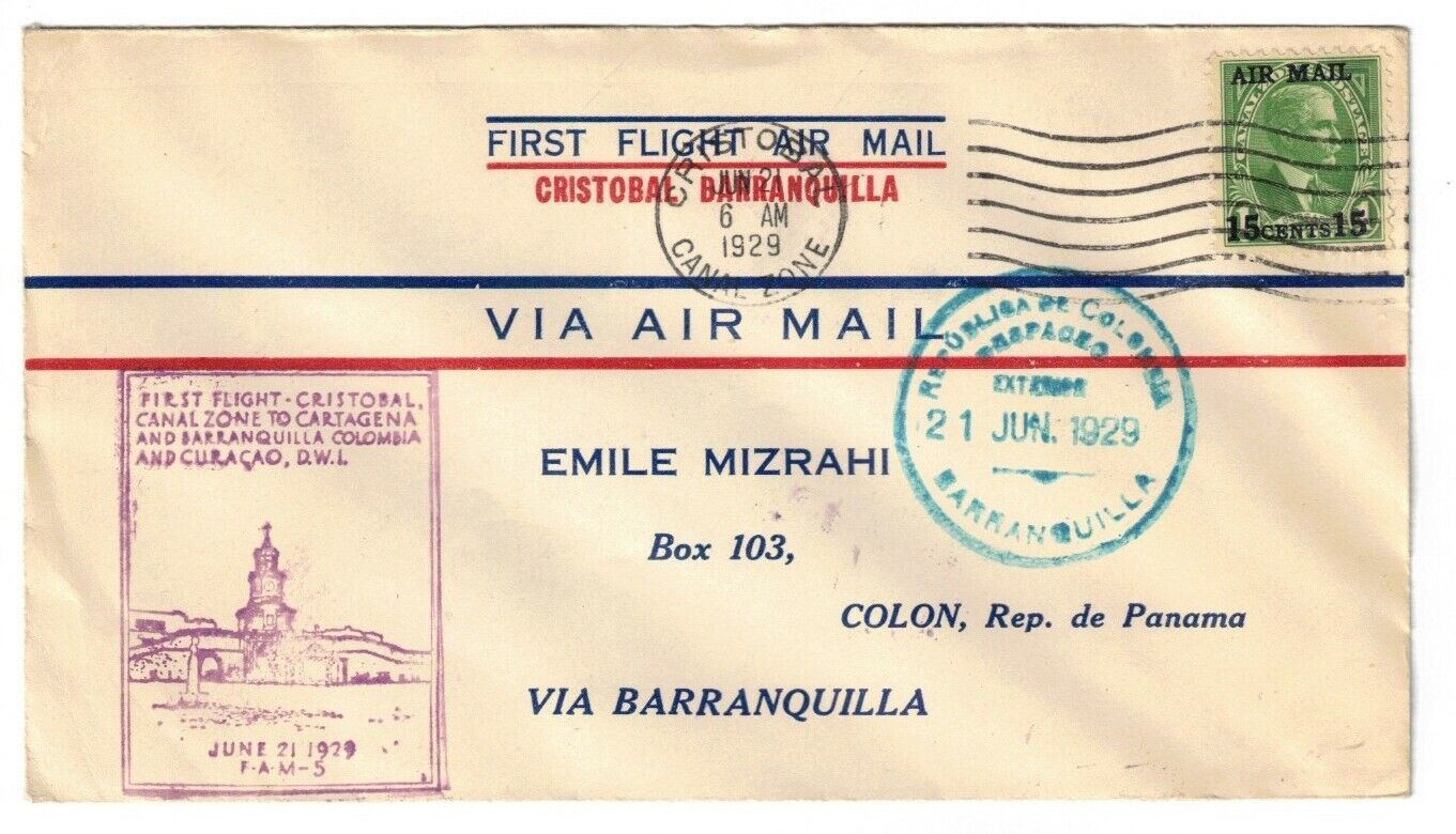 CANAL ZONE FIRST FLIGHT TO BARRANQUILLA, COLOMBIA, JUN 21, 1929, C1  - $7.00
