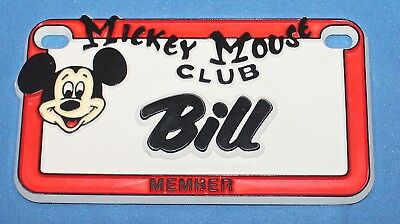 VINTAGE WALT DISNEY PROD. MICKEY MOUSE CLUB  NAME BILL PLASTIC LICENSE PLATE