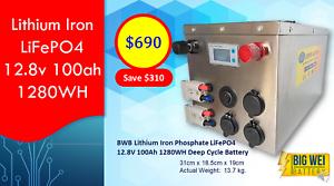 Deep Cycle Battery - BWB Lithium Iron LiFePO4 12.8v 100ah 1280WH Slacks Creek Logan Area Preview