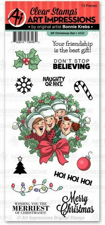 Art Impressions Girlfriends Clear Stamp Set Christmas
