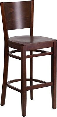Solid Back Walnut Wood Restaurant Barstool - Commercial Quality Bar Stool