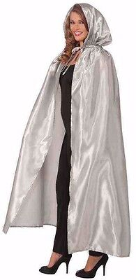 Long Silver Hooded Cape Masquerade Fancy Dress Gown Unisex Mens Womens Adult NEW (Masquerade Cape)