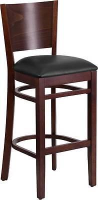 Lacey Series Solid Back Walnut Wooden Restaurant Barstool - Black Vinyl Seat