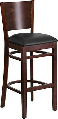 Solid Back Walnut Wood Restaurant Barstool With Black Vinyl Seat Cushion