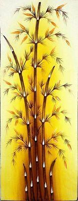GEMÄLDE BAMBUS Bambusrohr Leinwand Asia Bambusbild braun Bambusgemälde Bamboo