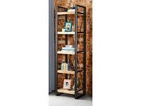 Slimline Industrial Bookcase / Shelf Reclaimed Rustic Wood Open Back