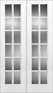 "PAIR OF INTERIOR FRENCH DOORS-BEVELED GLASS 24"" x 96"" NEW!"