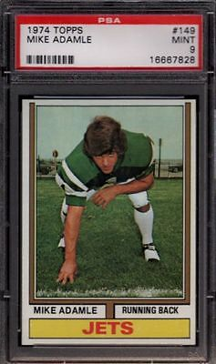1974 Topps   149 Mike Adamle  Rare  New York N Y  Ny Jets Psa 9 Mint