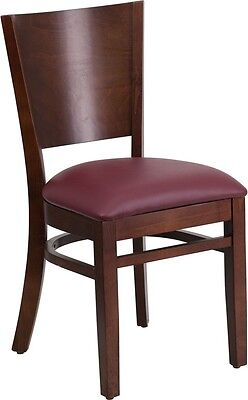 Solid Back Walnut Wood Finish Restaurant Chair With Burgundy Vinyl Seat