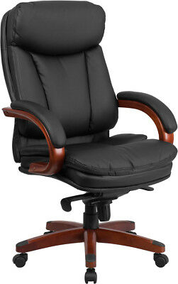 High Back Black Leather Executive Office Chair With Mahogany Wood Base And Arms