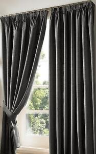 dark grey blackout curtains luxury lined pencil pleat curtains 9 sizes