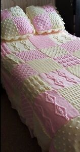 Vintage Heirloom Bedspread, Throw & Cushions Knitted In Squares Knitting Pattern