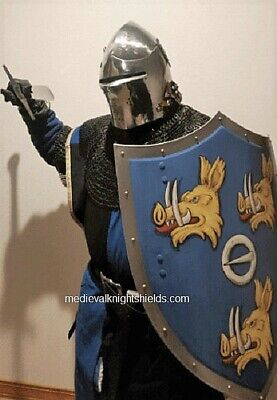Medieval knight shield family crest, metal Coat of Arms shield, knights - Medieval Crests