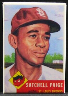 "Satchel Paige 1953 Topps 2"" X 3"" Fridge / Locker Magnet. St. Louis Browns"