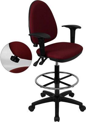 Mid-back Burgundy Fabric Multifunction Drafting Chair With Adjustable Lumbar ...