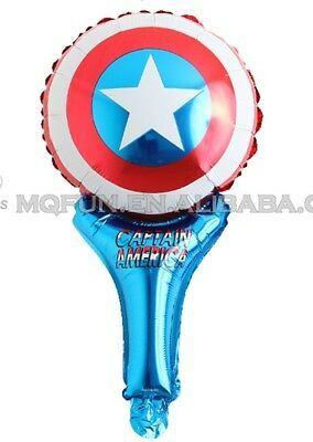 Captain America Decorations (5pcs Captain America Hand held Aluminum Foil Balloons Party Decoration,)