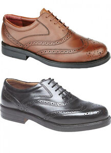 Mens-Wide-Fitting-Shoes-Leather-Brogues-Black-Brown