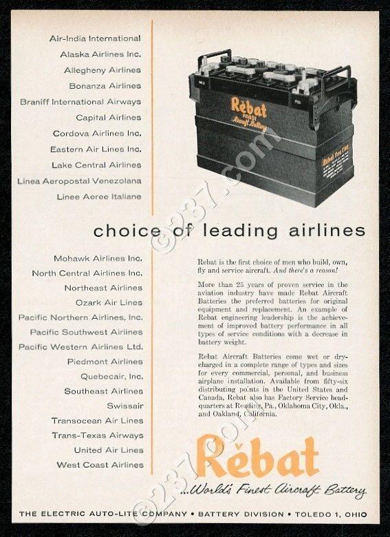 1957 Rebat aircraft plane battery photo vintage print ad
