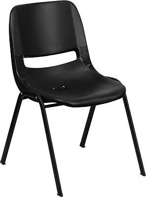 Flash Furniture Hercules Series 880 Lb. Capacity Black Ergonomic Shell Stack...