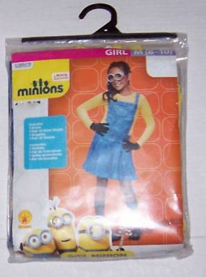 Despicable Me Girl Minion costume Size 8-10 Dress gloves goggles knee socks