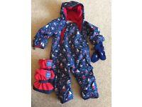 Jojo Maman Bebe Waterproof, fleece, all-in-one suit. 9-12 months
