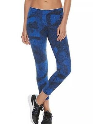 NIKE Womens XL Tights Cropped Dri-Fit Blue/Black Print Stretch Cotton -