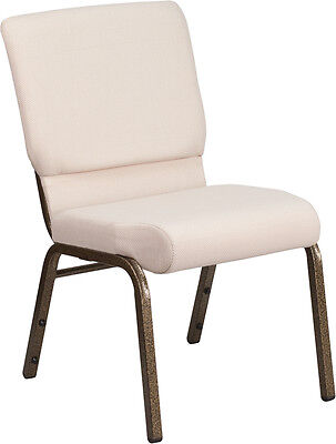 Lot Of 50 18.5 W Beige Fabric Stacking Church Chair With - Gold Vein Frame