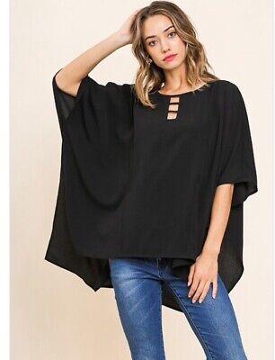 Black Dolman Sleeve (NWT Boutique Designer Umgee Black Dolman Sleeve Cutout Neck Detail Side Slits)