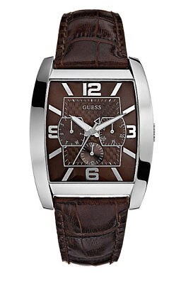 Guess Herrenuhr Power Broker 80009G2 Analog Multifunktion Leder Dunkelbraun ()