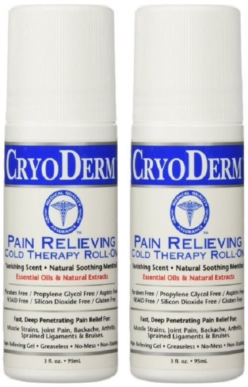CryoDerm Soothing Pain Relief Roll On 3 Oz Arthritis Sprains Neck Back