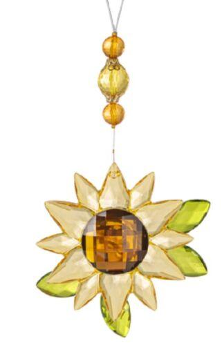 Ganz Crystal Expressions Jewel Acrylic Sunflower Ornament w/Leaves Suncatcher BB