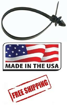 100 Uv Nylon Cable Wire Zip Ties Arrow Head Push Mount 50 Lbs 8 Inch Black Usa