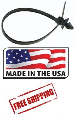 50 Pk 8 In Arrow Head Zip Ties Nylon Black Push Mount Wire Cable Made In Usa