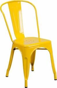 RESTAURANT INDUSTRIAL YELLOW METAL AND TOLIX STYLE DINING CHAIR BAR STOOL