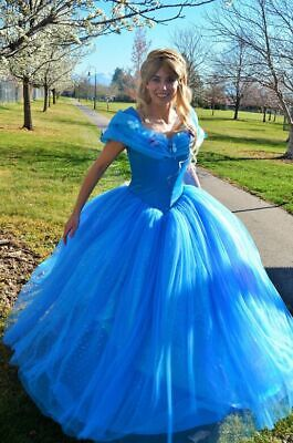 Movie Cinderella Cosplay Dress For Adult Fancy Princess Vintage blue prom - Cinderella Costume For Adults