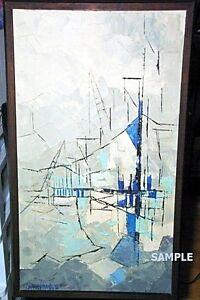 """""""Suspension Bridge"""" Vintage Original Oil Painting (signed)"""