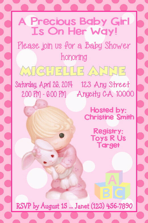 Precious moments custom girl or boy baby shower invitation ty card precious moments custom girl or boy baby shower invitation ty card u print 2 of 5 filmwisefo