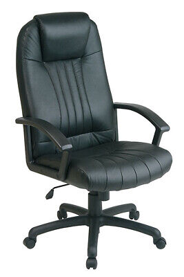 Black Leather Swivel Desk Chair
