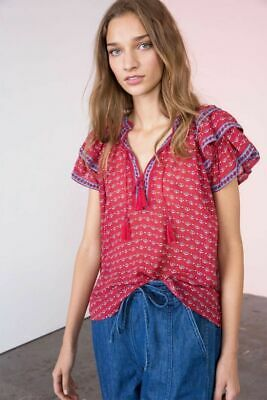 Ulla Johnson Freya Blouse Top Silk Ruffle Cap Sleeve Red Tie Front Sheer New L