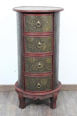 76 cm Kommode rund Beistellschrank 4 Schubladen Holz floral verziert Kolonial