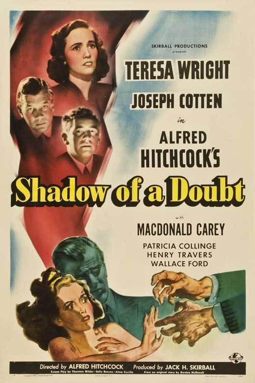 SHADOW OF A DOUBT Movie POSTER 27x40 D Teresa Wright Joseph Cotten Hume Cronyn