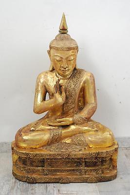 76 cm Skulptur Buddha in Meditation auf Thron Burma Myanmar wohl 19.Jhd