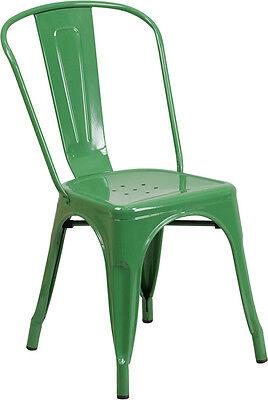 Green Metal Indoor-outdoor Stackable Chair Ch-31230-gn-gg - Set Of 4