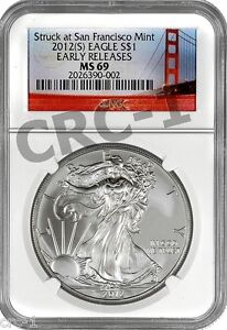 2012-S-SILVER-EAGLE-NGC-MS69-EARLY-RELEASES-STRUCK-AT-SAN-FRANCISCO-MINT-RED