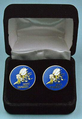 US NAVY SEABEES Cuff Links in Presentation Gift Box -USN SEA BEE USN Cufflinks