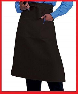 1 Waiter Waitress Bistro Aprons Black Or White 2 Pocket Premium Polyester