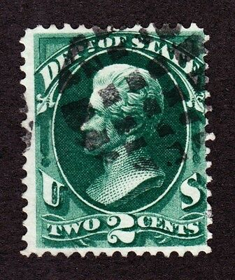 US O58 2c State Department Used w/ Grid Fancy Cancel