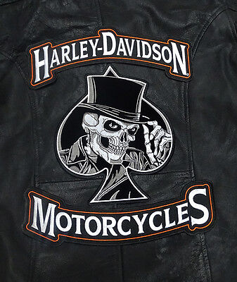 HARLEY 12 INCH TOP BOTTOM ROCKER WITH  TOP HAT 10 INCH 3PC BACK PATCH