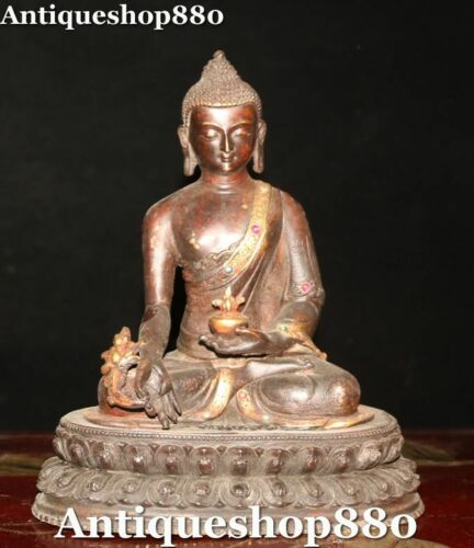 Old TIbetan Buddhism Bronze Gilt Gem Menla Medicine Buddha Medical God Statue